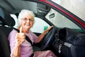 Senior citizen in car
